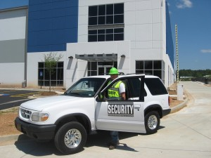 Officer Matt performing vehicle patrol at one of our construction sites